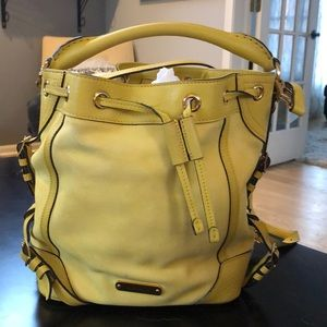 Burberry canary yellow Suede bucket tote